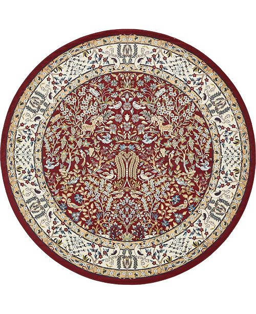 Bridgeport Home Zara Zar7 Burgundy 10' x 10' Round Area Rug