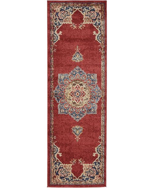 Bridgeport Home Shangri Shg3 Burgundy 2' x 6' Runner Area Rug