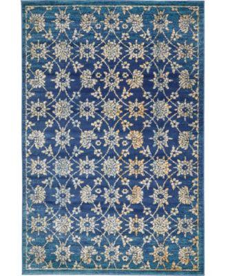 Masha Mas1 Navy Blue 6' x 9' Area Rug