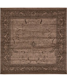 Aldrose Ald4 Light Brown 8' x 8' Square Area Rug