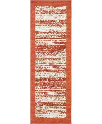 Pashio Pas4 Terracotta 2' x 6' Runner Area Rug