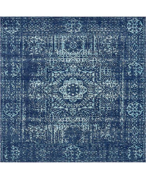 """Bridgeport Home Wisdom Wis3 Navy Blue 8' 4"""" x 8' 4"""" Square Area Rug"""