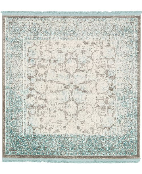 Bridgeport Home Norston Nor3 Blue 4' x 4' Square Area Rug