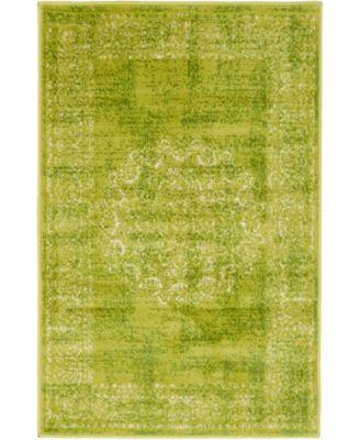 Linport Lin5 Light Green 2' x 3' Area Rug