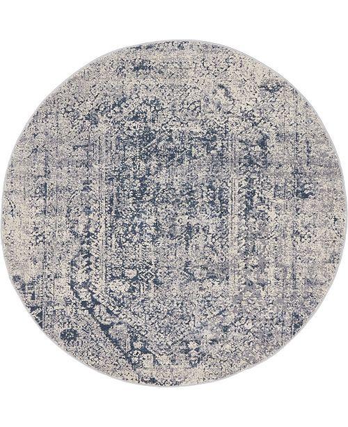 Bridgeport Home Odette Ode1 Gray 4' x 4' Round Area Rug