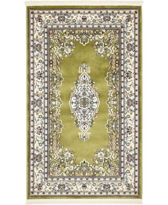 Zara Zar1 Green 3' x 5' Area Rug