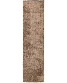 "Salon Solid Shag Sss1 Brown 2' 7"" x 10' Runner Area Rug"