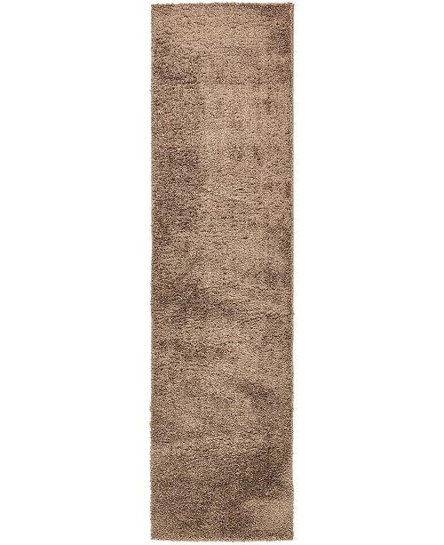 "Bridgeport Home Salon Solid Shag Sss1 Brown 2' 7"" x 10' Runner Area Rug"
