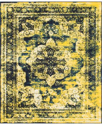 Basha Bas2 Navy Blue 6' x 6' Square Area Rug