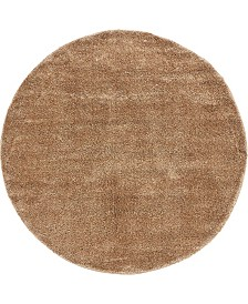 Bridgeport Home Uno Uno1 Light Brown 6' x 6' Round Area Rug