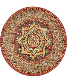 "Bridgeport Home Wilder Wld4 Navy Blue 3' 3"" x 3' 3"" Round Area Rug"