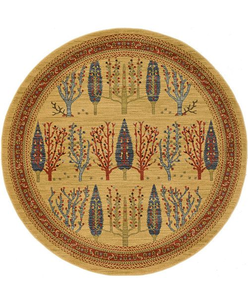 Bridgeport Home Ojas Oja7 Tan 6' x 6' Round Area Rug
