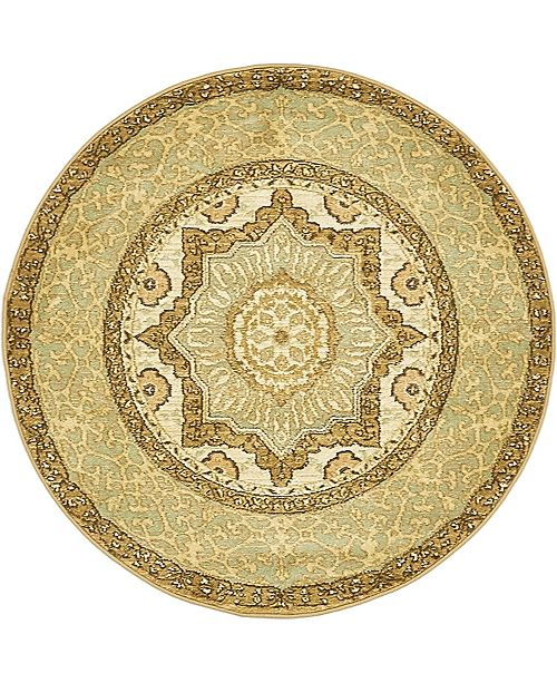 "Bridgeport Home Wilder Wld4 Light Green 3' 3"" x 3' 3"" Round Area Rug"