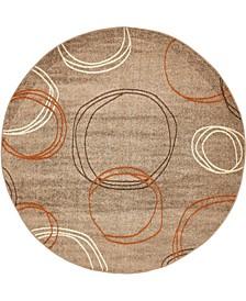 Jasia Jas05 Light Brown 8' x 8' Round Area Rug