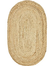 "Bridgeport Home Braided Jute C Bjc5 Natural 3' 3"" x 5' Oval Area Rug"