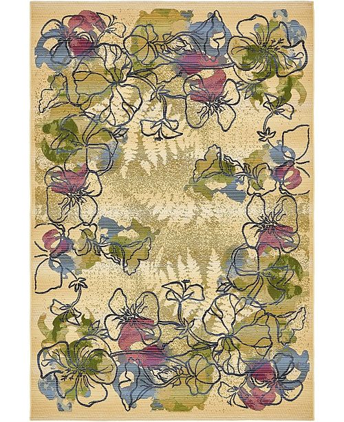 "Bridgeport Home Pashio Pas1 Ivory 5' 3"" x 8' Area Rug"