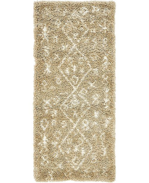 "Bridgeport Home Fazil Shag Faz1 Taupe 2' 7"" x 6' Runner Area Rug"