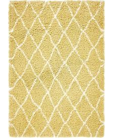 Bridgeport Home Fazil Shag Faz3 Yellow 4' x 6' Area Rug