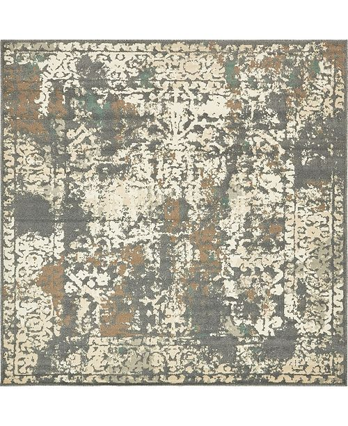 Bridgeport Home Tabert Tab1 Gray 8' x 8' Square Area Rug