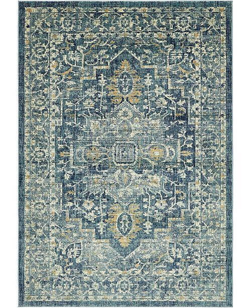 Bridgeport Home Masha Mas6 Navy Blue 7' x 10' Area Rug