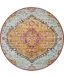 "Kenna Ken1 Gold 8' 4"" x 8' 4"" Round Area Rug"