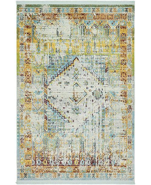 """Bridgeport Home Kenna Ken2 Light Blue 4' 3"""" x 6' Area Rug"""