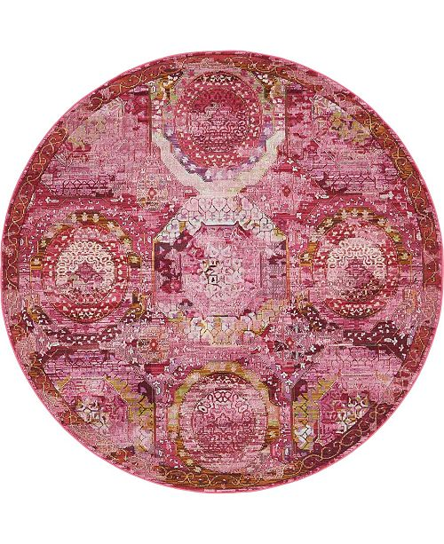 "Bridgeport Home Kenna Ken4 Pink 5' 5"" x 5' 5"" Round Area Rug"