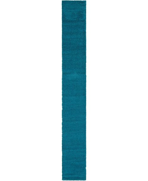 "Bridgeport Home Exact Shag Exs1 Deep Aqua Blue 2' 6"" x 19' 8"" Runner Area Rug"