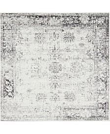 Basha Bas1 Gray 6' x 6' Square Area Rug