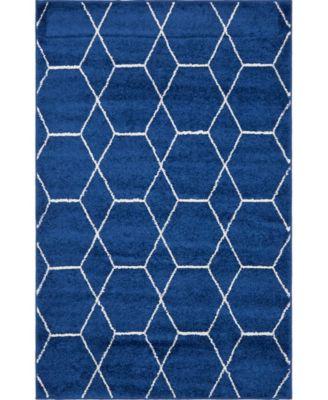 Plexity Plx1 Navy Blue 4' x 6' Area Rug