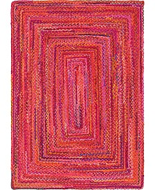 Bridgeport Home Roari Cotton Braids Rcb1 Red 6' x 9' Area Rug