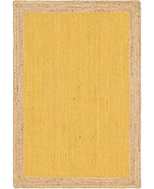 Braided Jute A Bja4 Yellow 4' x 6' Area Rug