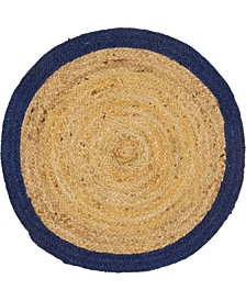 "Braided Jute A Bja4 Natural 3' 3"" x 3' 3"" Round Area Rug"