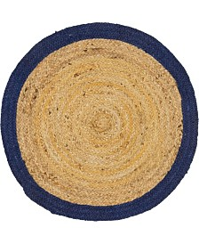 "Bridgeport Home Braided Jute A Bja4 Natural 3' 3"" x 3' 3"" Round Area Rug"