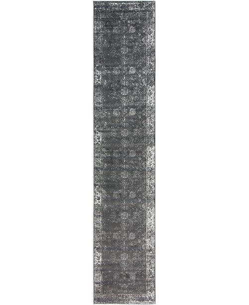 "Bridgeport Home Basha Bas1 Dark Gray 3' 3"" x 16' 5"" Runner Area Rug"