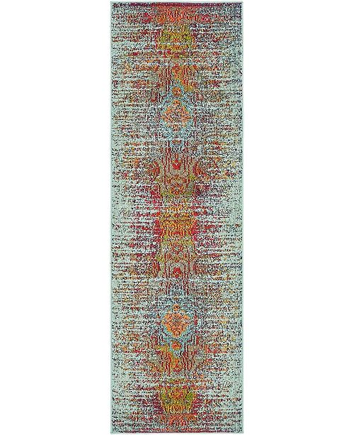 "Bridgeport Home Brio Bri1 Blue 2' x 6' 7"" Runner Area Rug"
