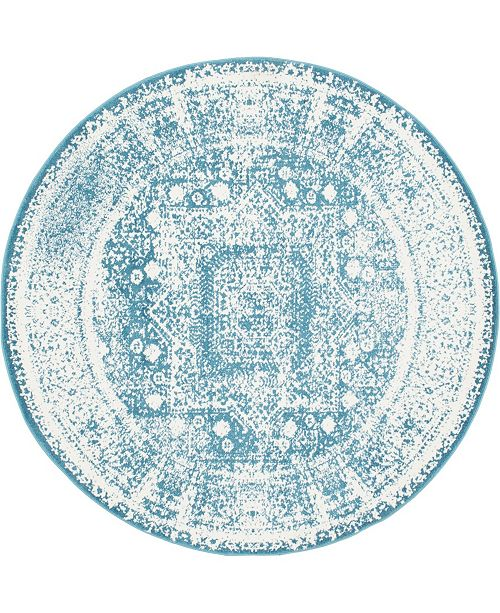 Bridgeport Home Mishti Mis1 Blue 8' x 8' Round Area Rug