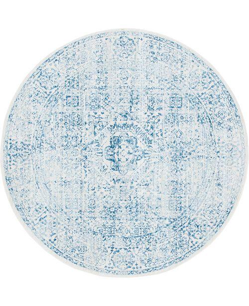 Bridgeport Home Zilla Zil3 Light Blue 6' x 6' Round Area Rug