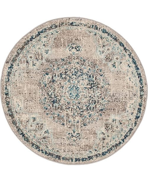 "Bridgeport Home Lorem Lor1 Gray 3' 3"" x 3' 3"" Round Area Rug"