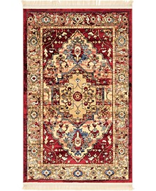 "Borough Bor3 Red 3' 3"" x 5' 3"" Area Rug"