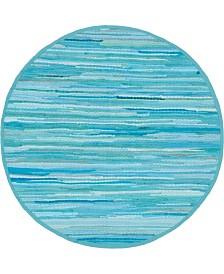 "Bridgeport Home Jari Striped Jar1 Turquoise 3' 3"" x 3' 3"" Round Area Rug"