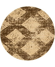 "Thule Thu4 Brown 4' 5"" x 4' 5"" Round Area Rug"