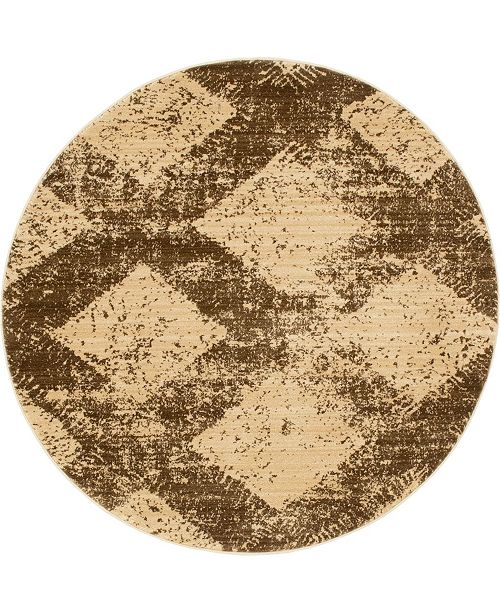 Bridgeport Home Thule Thu4 Brown 8' x 8' Round Area Rug