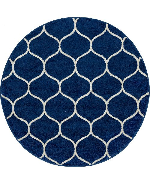 Bridgeport Home Plexity Plx2 Navy Blue 4' x 4' Round Area Rug