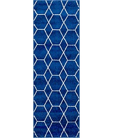 Plexity Plx1 Navy Blue 2' x 6' Runner Area Rug