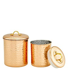Old Dutch International Copper Hammered Storage Canisters, 2 Piece