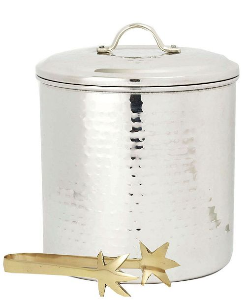 Old Dutch International Hammered Stainless Steel Ice Bucket with Brass Tongs,3-Quart