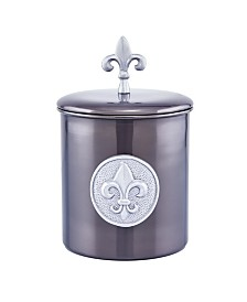 Old Dutch International Antique Pewter Fleur De Lis Cookie Jar, 4-Quart