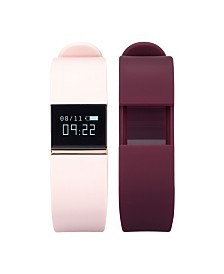 iFitness Activity Tracker with Blush Strap and Bonus Burgundy Strap