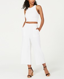 City Studios Juniors' 2-Pc. Bow-Back Crop Top & Pants